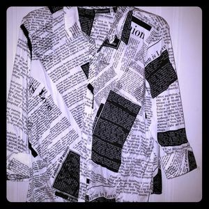 NY&CO button down newspaper print shirt
